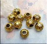 Soccer Ball Big Hole Beads, Antique Gold Volleyball Large Hole Beads (10)