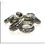Fancy Large Hole Ring Spacer Beads, Antique Silver (10)