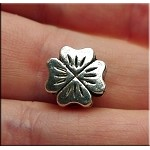 Silver Pewter 4 Leaf Clover Large Hole Beads 10x6mm 10 per bag