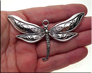 Large Silver Dragonfly Necklace, Dragonfly with Crystals