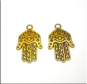 Hamsa Earrings, Antique Gold Evil Eye Warding Earrings