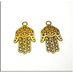 Golden Hamsa Earrings, Evil Eye Earrings