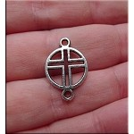 Cross Connectors, Antique Silver Cross Jewelry Findings (15)