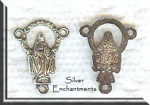 Miraculous Madonna Rosary Centerpieces, Anitque Silver
