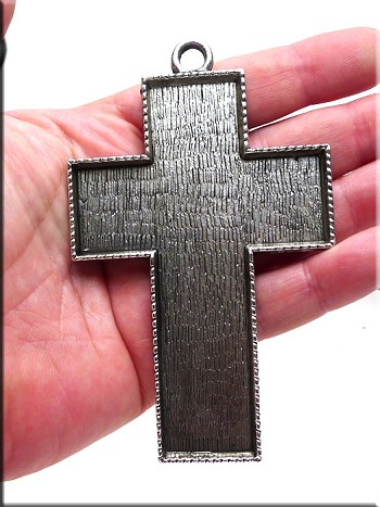 Silver Pewter Extra Large Cross Pendant Bezel 103x63mm