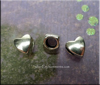 Wholesale Pewter Simple Heart Large Hole Beads