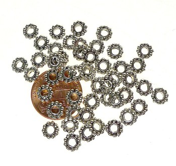 50 Silver Pewter 6mm Daisy Spacers with 3mm Hole