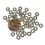 Tibetan Silver 6mm Large Hole Daisy Spacers with 3mm Hole (50)