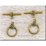 Gold Pewter Toggle Clasps with Swirl Motif 10 per bag