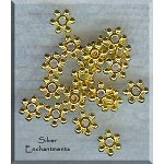 6mm Stackable Snowflake Spacers, Bright Gold (20)