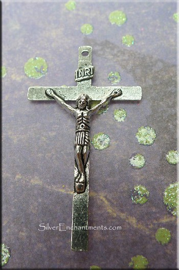 10 Silver Pewter Crucifix Pendants 40x22mm