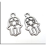 Star of David Hamsa Necklace, Hand with Star of David Necklace