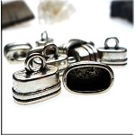Oval Jewelry End Caps, Antique Silver Kumihimo Caps (10)