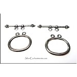 Double Strand Toggle Clasps, Antique Silver (10)