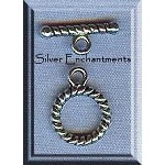 Small Round Twist Toggle Clasps, Antique Silver 10mm (10)