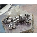 Heart American Flag Large Big Beads, Antique Silver (10)