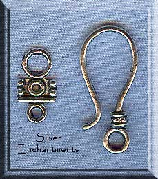 J Hook and Eye Clasps, Antique Silver (10)