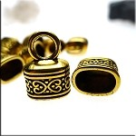 Gold Pewter Oval Fancy End Caps 18x13mm 10 per bag