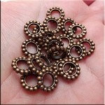 Copper Large Hole Spacer Beads, Pewter European style Spacers, Bulk (20)