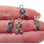 Awareness Ribbon Charm with Crystals, Autism Awareness Jewelry