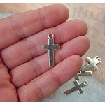 Plain Cross Charms, Antique Silver Cross Pendants (10)