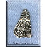 Tibetan Silver Cat Charm, Antique Silver Cat Jewelry