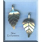 Silver Pewter Bailed Leaf Pendants 28x14mm 10 per bag