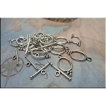 Oval Toggle Clasps with 3-Ball Accent, Antique Silver (15)