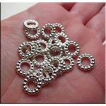 Large Hole Spacer Beads with 5.5mm Hole, Bright Silver (20)