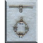 Silver Pewter Fancy Toggle Clasps 17mm 15 per bag