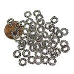 Large Hole Fancy Spacer Beads with 4mm Hole, Antique Silver (50)