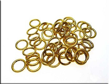 50 Gold Plated Closed Jump Rings 8mm