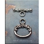Silver Pewter Oval Flower Toggle Clasps 10 per bag