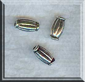 Silver Crimped Capsule Bead 10x5mm Pewter Hotdog Bead (1)