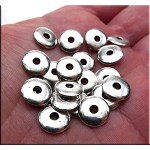 Silver Pewter Wafer Rondelle Spacer Beads 10mm 20 per bag