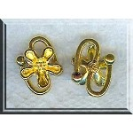 Flower S Hook Jewelry Clasps, Bright Gold Finish (10)