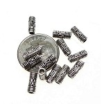Bali Style 3x8mm Antique Silver Tube Beads, Antique Silver (50)