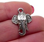 Silver Elephant Charms, Antique Silver Pewter Indian Elephant Pendants, Bulk (10)