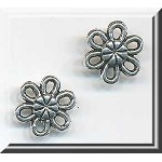 Silver Small Daisy Jewelry Connectors, 10mm (15)