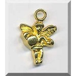 Bright Gold Angel Charm, Pewter Angel with Bright Gold Finish,18x12mm