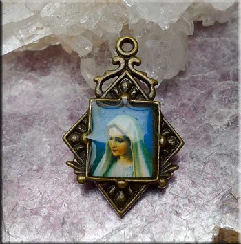 Madonna Necklace, Religious Medallion Necklace