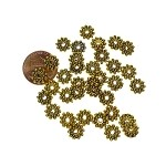 8mm Snowflake Jewelry Spacers, Antique Gold  2mm Hole (40)