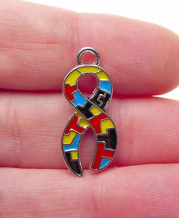 Awareness Ribbon Charm with Multicolor Enameled Puzzle Sections Autism Awareness Charm