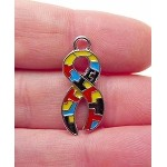 Silver Pewter Autism Awareness Ribbons with Multicolor Enameled Puzzle Sections 10 per bag