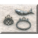 Silver Pewter Fish and Cat Toggle Clasps and Charms Sets 10 sets per bag