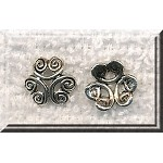 Scroll Bead Caps, 12mm Antique Silver (20)