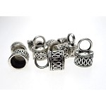 Fancy Bali Style Jewelry End Caps wth 7mm Opening, Antique Silver (10)