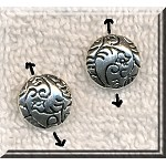 Fancy Patterned Puff Coin Bead Antique Silver 12mm