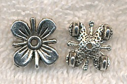 Silver Pewter Double strand Jewelry Separator Beads with Flower Motif 13x12mm 10 per bag