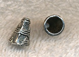 Silver Pewter Jewelry Cones with Pyramid Detailing 11x8mm with 6mm Opening 10 per bag